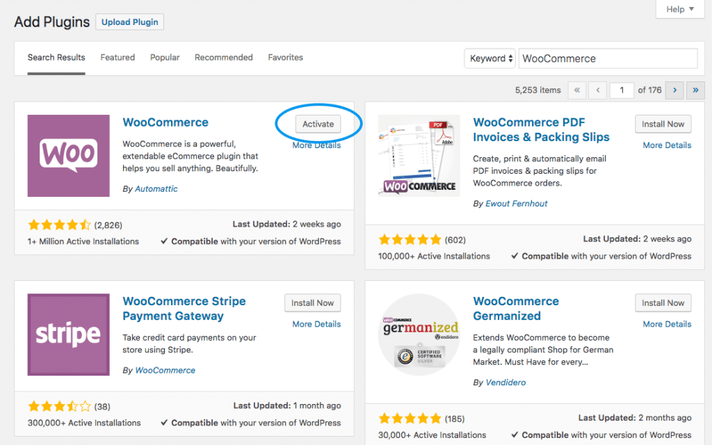 Activate WooCommerce Plugin WordPress