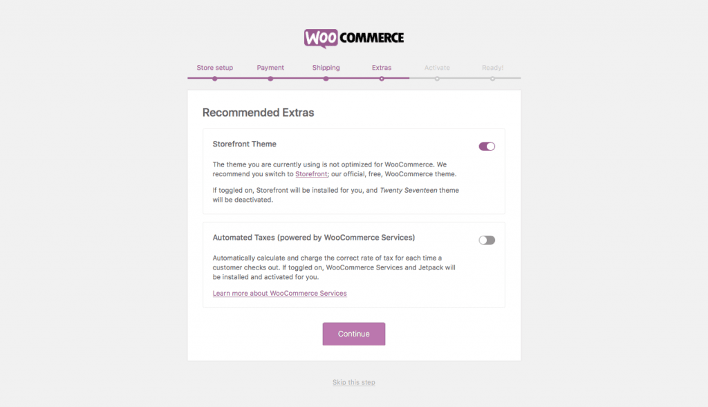 WooCommerce WordPress Extras Setup